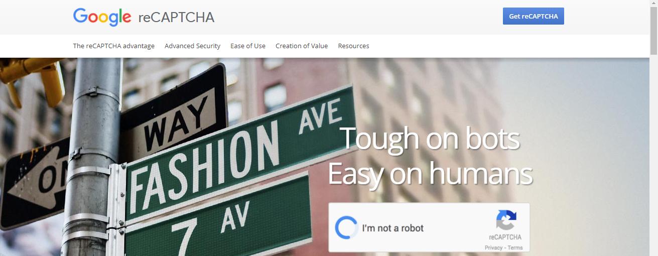 Google Recaptcha main page