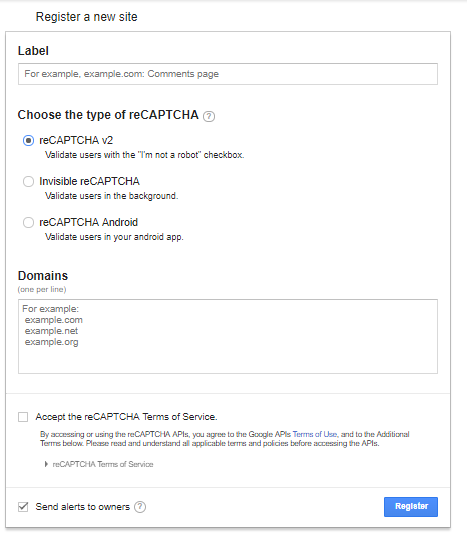 form to fill in when creating a recaptcha account for a website